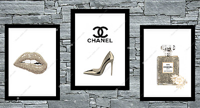 Set of 3 Coco Chanel Beige Gold Wall Art Print Room Bedroom Poster Gift