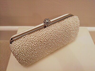 Ivory Pearl and Satin Bag - Clutch Or With Strap (wedding/bridal)