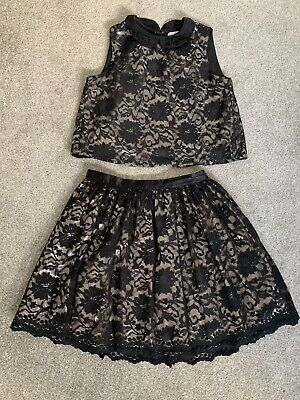 Girls Lace Dress  Xmas Party Size age 13-14 Black/Silver M&S