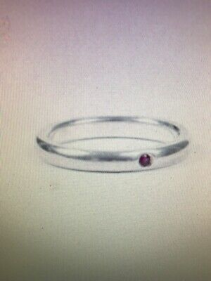 Authentic Tiffany & Co. Elsa Peretti Sterling Silver Stack Ruby Band Ring Size 5