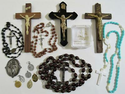 vintage rosary cross Jesus crucifix St. medals lot Italy Catholic Christian Holy