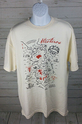 Game Of Thrones MAP OF WESTEROS T-Shirt Licensed & Official Beige Size XL