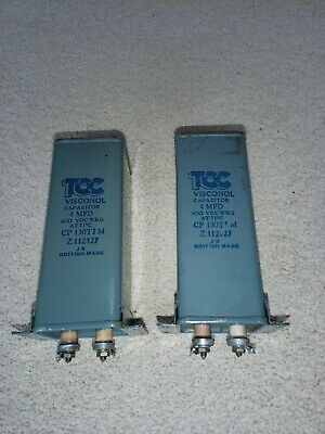 2 Capacitors PIO TCC made 1950's 4 uf 4 mfd  terminal end fixings tested good
