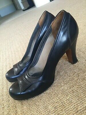 Lovely Leather Navy Shoes 1940s Vintage Style Size 6
