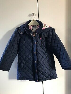 Joules Hooded Girl's Navy Blue Quilted Jacket Coat Age 8