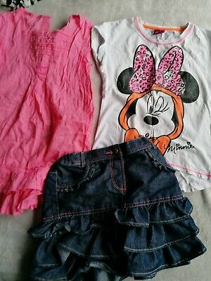 Minnie Mouse Tshirt Skirt Dress Outfit Denim Set Age 5-6