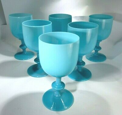 Art Deco Six  Portieux Vallerysthal French Opaline Blue Glass Water Goblets