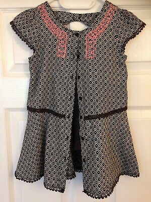 Girls 2 piece chocolate brown,white and pink TU top and leggings age 5