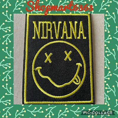 """Nirvana Band embroidered iron on patches appliques 3x3/"""" Yellow/&Black"""