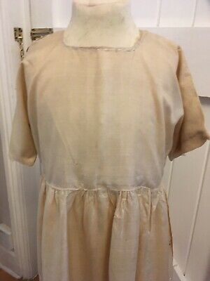 Cream Silk Embroidered 1920's Antique Girls Dress, see photos