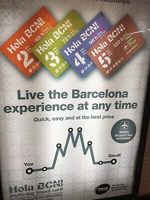 2 X Barcelona Travel Cards Valid 72 Hours From First Use