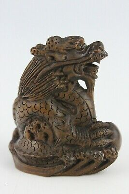 19th Century Japanese Netsuke BoxWood Hand Carved Dragon SIGNED 5cm