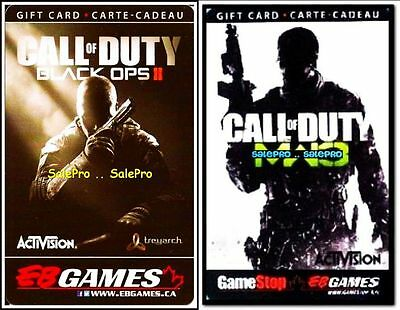 2x EB GAMES GAMESTOP CALL OF DUTY MW3 & BLACK OPS II COLLECTIBLE GIFT CARD LOT