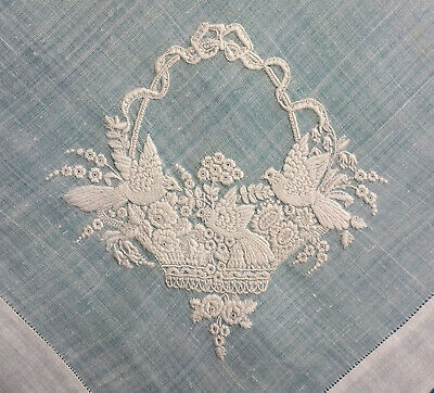 Antique Swiss embroidered fine lawn handkerchief with birds