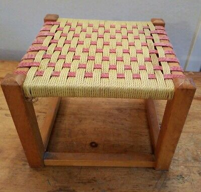 Vintage retro 60s wooden rattan woven wicker yellow red square foot stool