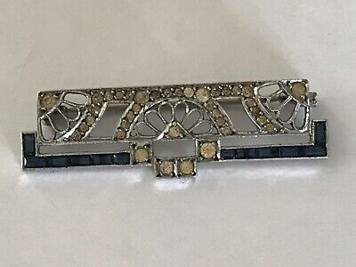 Antique Vintage Art Deco French silver paste brooch pin. 1 7/8""