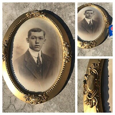 Vintage Antique Oval Wood Gold Picture Large Frame with Bubble Glass Young Man