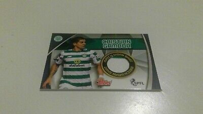 Topps Match Attax Spfl 2019/20 Rare Celtic Christian Gamboa Matchworn Shirt Card