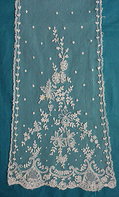 3  white antique embroidered net scarves