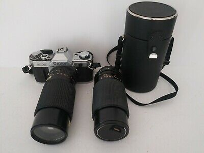 Canon AE-1 Program 35mm Camera w/ 2- Lens.. Leather Case UNTESTED