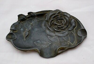 Antique French Art Deco Cast Metal Pin Tray Stunning Rose Design Ashtray