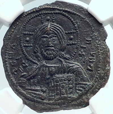 JESUS CHRIST Class A3 Anonymous Ancient 1020AD Byzantine Follis Coin NGC i81874