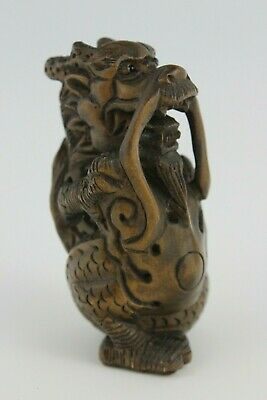 19th Century Japanese Netsuke BoxWood Hand Carved Dragon Stand Up  SIGNED 5cm
