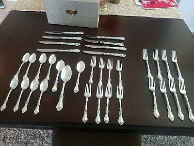 Royal Rose by Wallace Sterling Silverware 35-Pieces. 8 Place Setting No Monogram