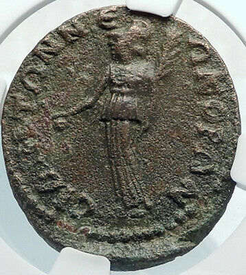 GALLIENUS Authentic Ancient Side Pamphylia Roman Coin ATHENA VOTING NGC i81876