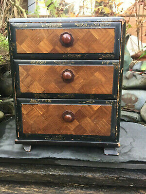 Antiquec1880 Japanese Meiji Period Inlaid Marquetry Tabletop Chest/Box & Drawers