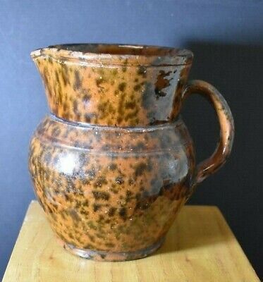 19Th Cent Redware Pitcher, Manganese Spatter, Brosius, Kennet Sq, Chester Co, Pa
