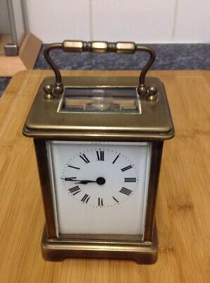 Antique Vintage Brass Carriage Clock With Escapement Working Order With Key