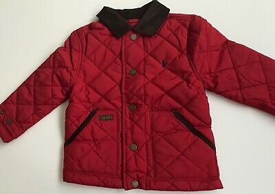 New Ralph Lauren Red Boys Diamond-Quilted Jacket 5T / 5 Years