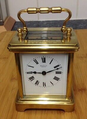 Vintage Antique Brass Carriage Clock With Escapement Working Order With Key