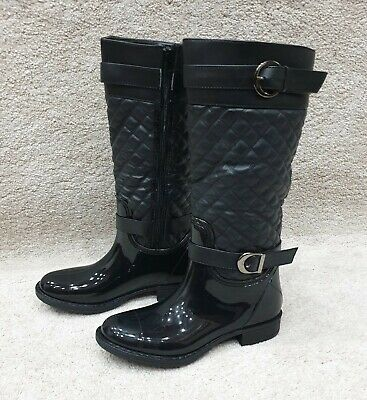 Black ladies Quilted Knee Wellington Boots Sizes 3,4,5,6,7,8