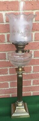antique victorian Glass Oil Lamp Corinthian Column