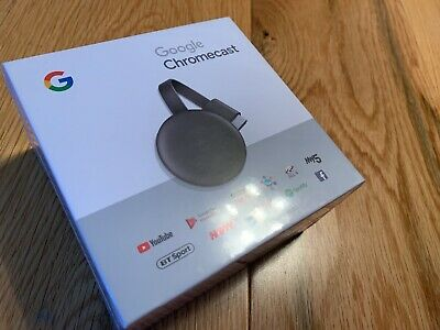 BNew Sealed Google Chromecast 3rd Generation Media Streamer - Charcoal - NEW