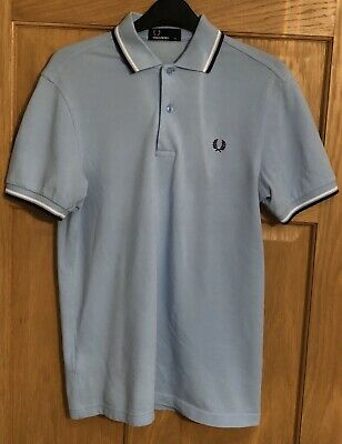 Mens Genuine Fred Perry Polo Shirt In Pale Blue Size Xs