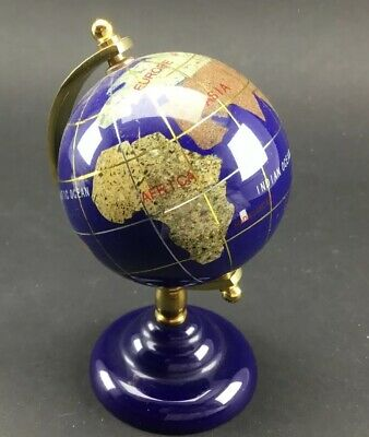 Blue Lapis Gemstone Globe World Inlaid Precious Stones On Stand Table Top Size