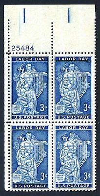 US 1082 3c Labor Day Labor Is Life Plate Block  MNH, 1956 y