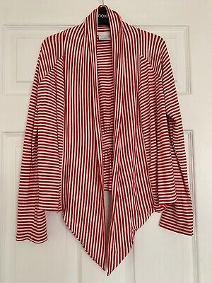 Girls Next Waterfall Cotton Cardigan Red White Stripe Fab Condition Age 11