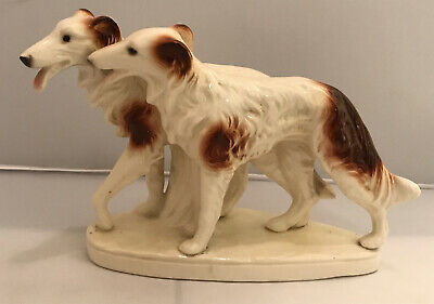 """Vintage Pair of Russian Wolf Hounds / Borzoi Porcelain Dogs Figurine 9.5 """""""