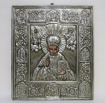 antique silver Orthodox Russian Icon Saint St Nicholas Jesus & Mary hand painted