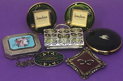7 Vintage To Now Lot Enamel Compacts Trinkets Brooches Guilloche Black Etched