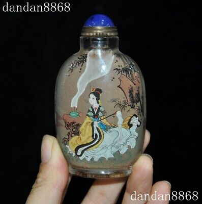 Chinese Glass glaze internal Painted beauty Belle Lady Woman bamboo snuff bottle
