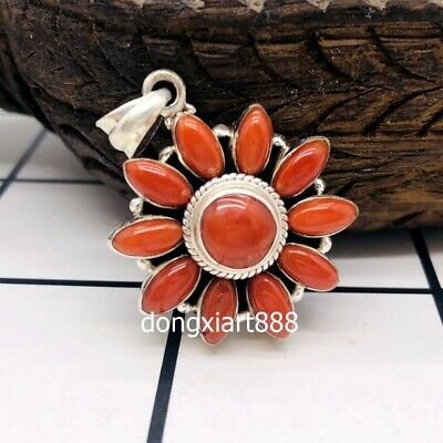 Tibet Buddhism pure silver inlay wire inlay coral Flower Buddha Amulet Pendants