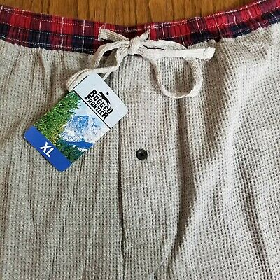 Rugged Frontier Men's Lounge Pants Pajama Bottoms Light Gray Plaid Waistband XL