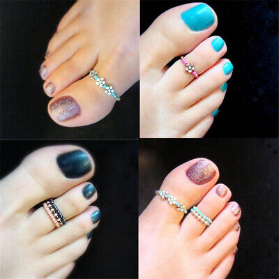 Girl Rhinestone Toe Ring Finger Jewelry Women Foot Celebrity Beach Barefoot