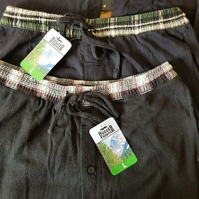 Pair of 2 Rugged Frontier Lounge Pants Pajama Bottoms Navy & Black Plaid Large