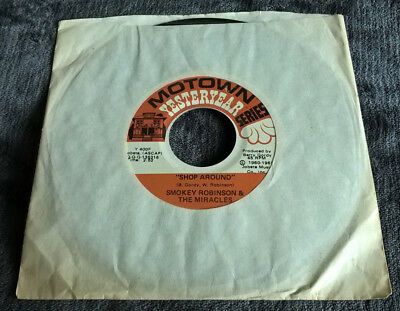 "Smokey Robinson & The Miracles Shop Around / Way Over There 7"" Single Motown"